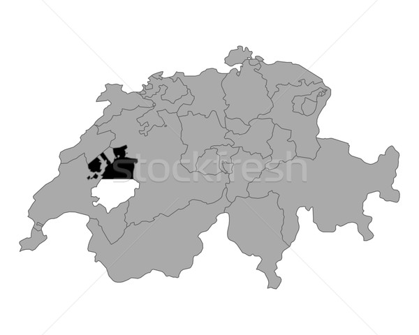 Map of Switzerland with flag of Fribourg Stock photo © rbiedermann