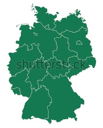 ストックフォト: 地図 · ドイツ · 緑 · ベクトル · ベルリン · 孤立した