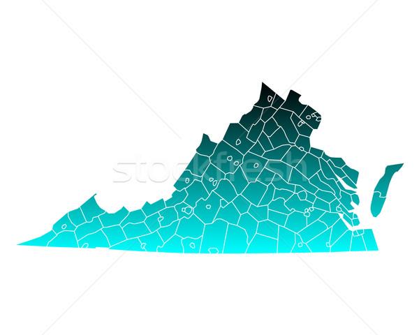 Kaart Virginia groene Blauw reizen USA Stockfoto © rbiedermann