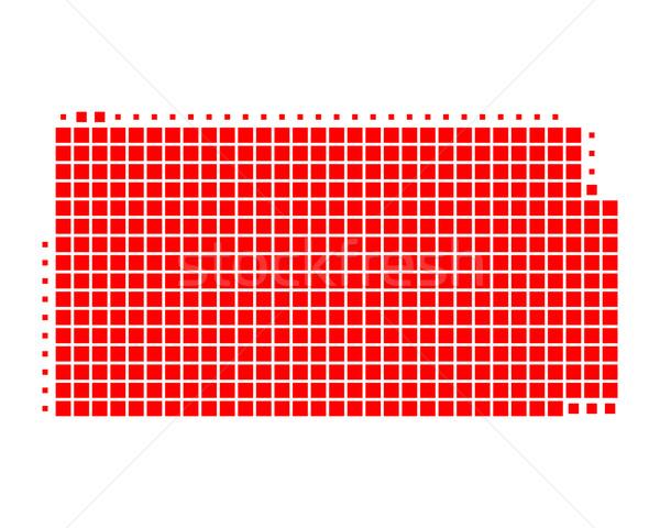 Térkép Kansas piros minta Amerika tér Stock fotó © rbiedermann