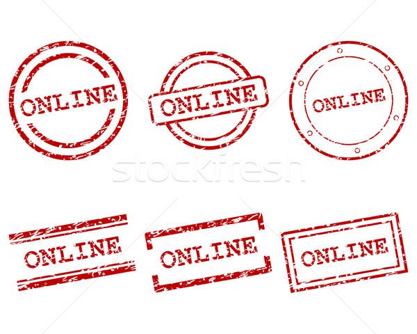Stockfoto: Online · postzegels · stempel · grafische · tag · zegel