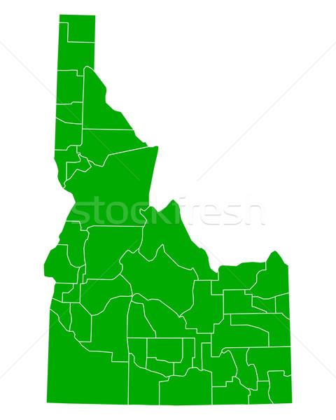 Mapa Idaho fundo verde linha vetor Foto stock © rbiedermann