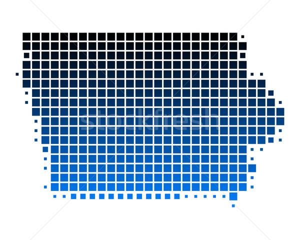 карта Айова синий шаблон Америки квадратный Сток-фото © rbiedermann