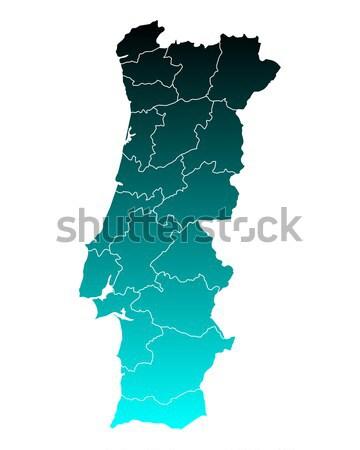地図 ポルトガル 緑 青 旅行 孤立した ストックフォト © rbiedermann
