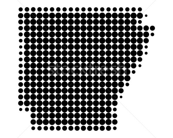Kaart Arkansas zwarte patroon amerika cirkel Stockfoto © rbiedermann