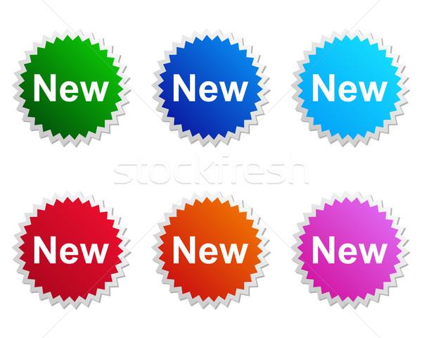 Stockfoto: Nieuwe · label · oranje · Blauw · roze · tag