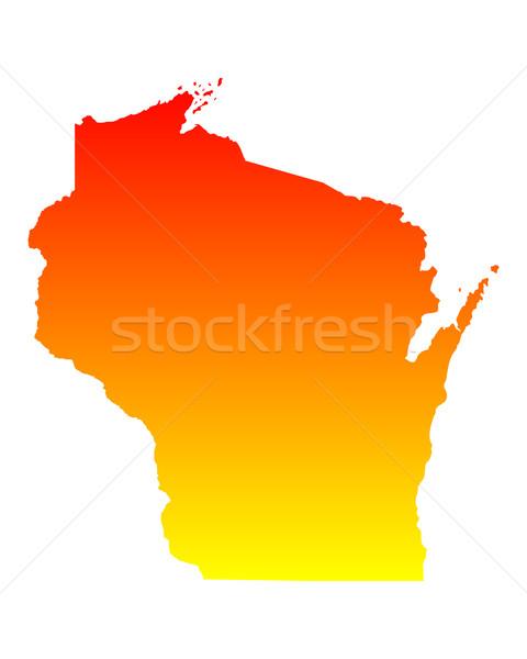 Carte Wisconsin Voyage Amérique USA isolé Photo stock © rbiedermann
