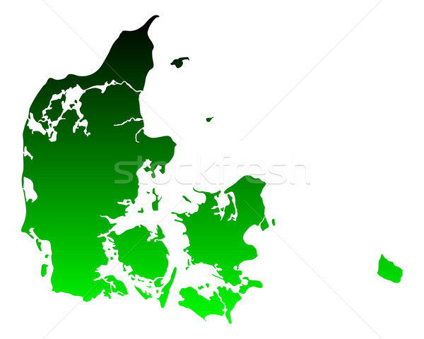 Mapa Dinamarca verde viaje vector Foto stock © rbiedermann