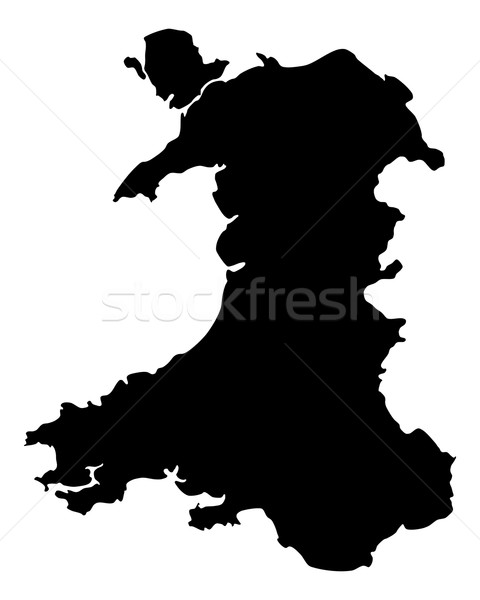 Mapa gales fondo línea vector Foto stock © rbiedermann
