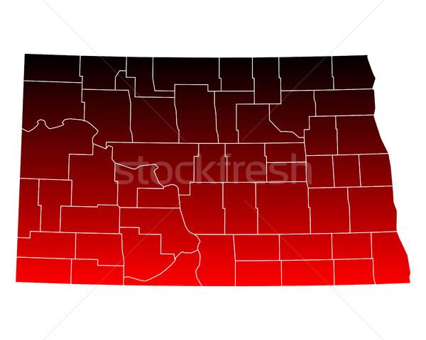 Harita Kuzey Dakota kırmızı ABD vektör yalıtılmış Stok fotoğraf © rbiedermann