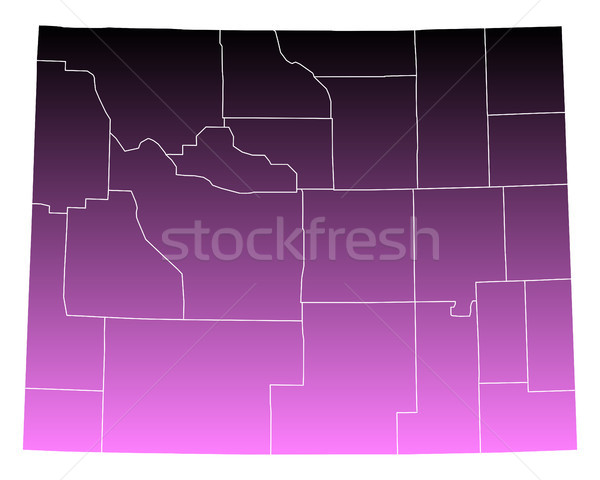 Kaart Wyoming reizen roze USA geïsoleerd Stockfoto © rbiedermann