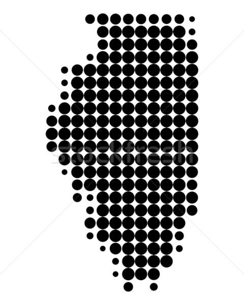 карта Иллинойс черный шаблон Америки круга Сток-фото © rbiedermann