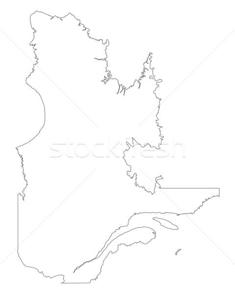 Сток-фото: карта · Квебек · Канада · изолированный · иллюстрация · серый