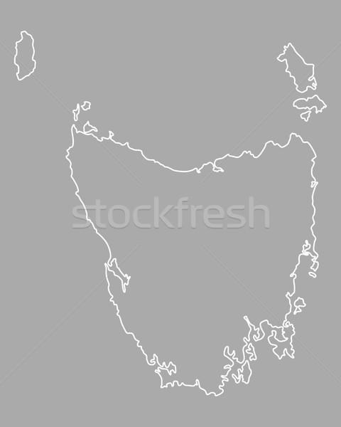 Harita tazmanya vektör yalıtılmış örnek gri Stok fotoğraf © rbiedermann