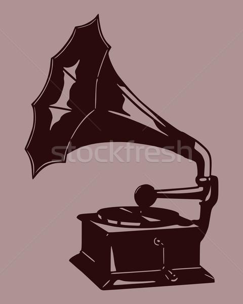 Gramofon siluet bağbozumu kayıt antika disk Stok fotoğraf © rbiedermann