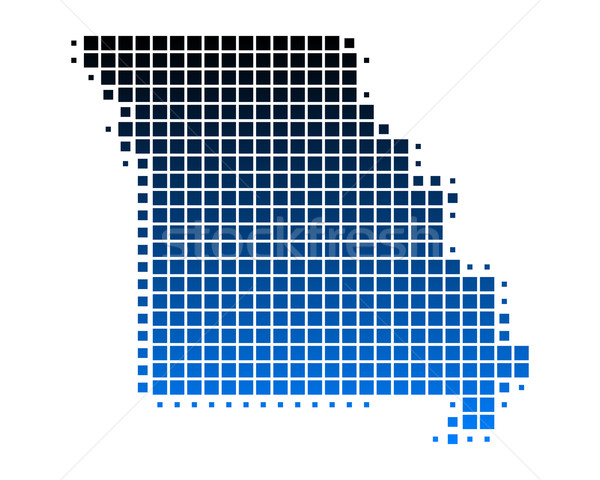 Carte Missouri bleu modèle Amérique carré Photo stock © rbiedermann