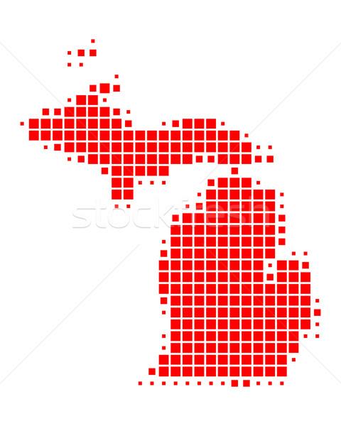 Mappa Michigan rosso pattern america USA Foto d'archivio © rbiedermann