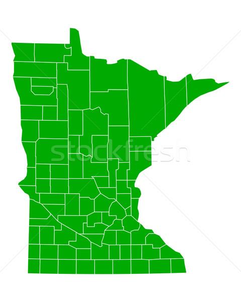 Mapa Minnesota fundo verde linha vetor Foto stock © rbiedermann