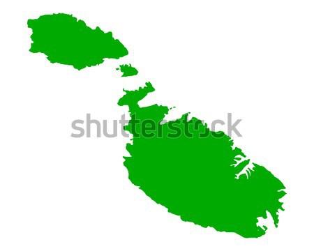 Mappa Malta verde vettore isolato Foto d'archivio © rbiedermann