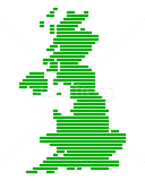 Stockfoto: Kaart · groot-brittannië · groene · Engeland · lijn · lijnen