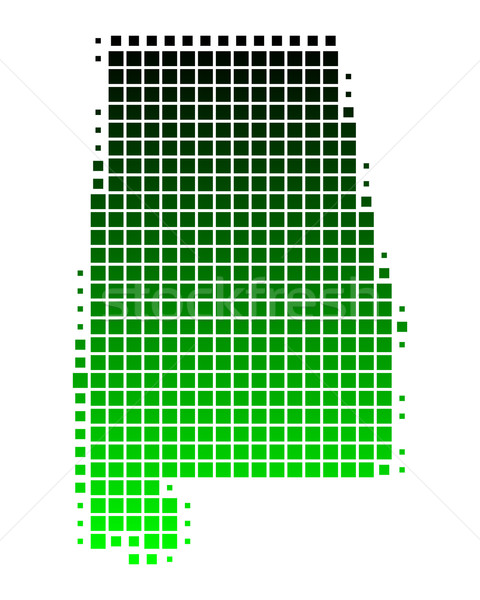 карта Алабама зеленый шаблон Америки квадратный Сток-фото © rbiedermann