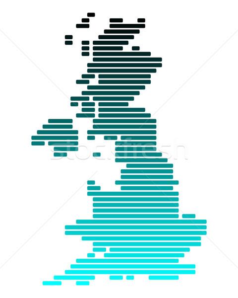 Stockfoto: Kaart · groot-brittannië · groene · Blauw · Engeland · lijn