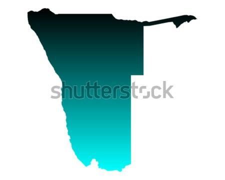 Harita Namibya yeşil mavi seyahat vektör Stok fotoğraf © rbiedermann