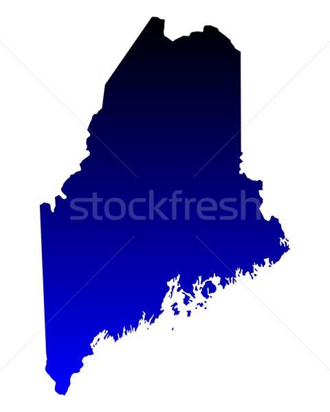 Stock fotó: Térkép · Maine · kék · utazás · Amerika · USA