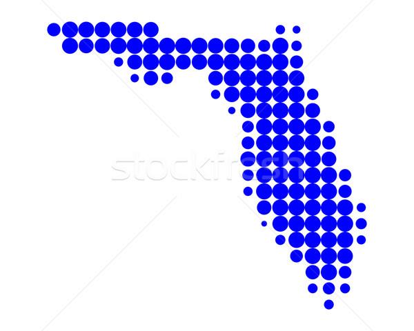 Térkép Florida kék minta Amerika kör Stock fotó © rbiedermann