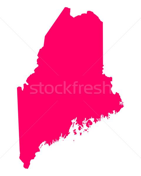 Térkép Maine utazás Amerika lila izolált Stock fotó © rbiedermann