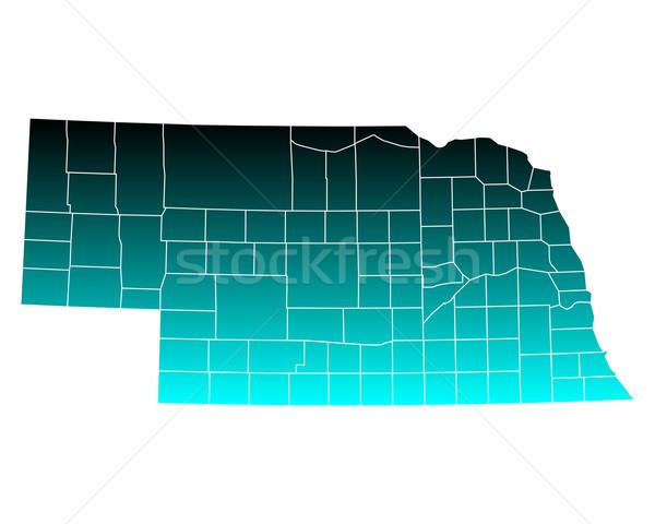 Mappa Nebraska verde blu viaggio USA Foto d'archivio © rbiedermann