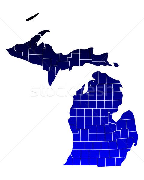 Mappa Michigan blu viaggio USA isolato Foto d'archivio © rbiedermann