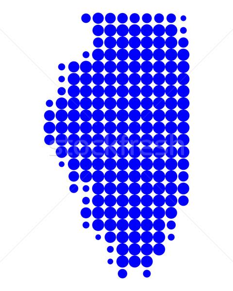 Carte Illinois bleu modèle Amérique cercle Photo stock © rbiedermann