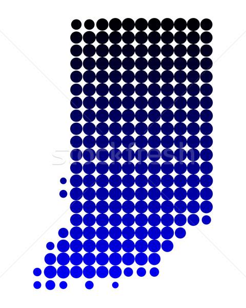 Kaart Indiana Blauw patroon amerika cirkel Stockfoto © rbiedermann