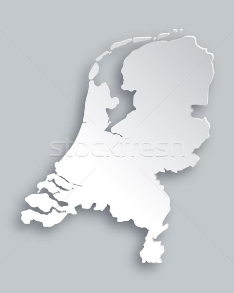 Kaart Nederland papier abstract achtergrond reizen Stockfoto © rbiedermann