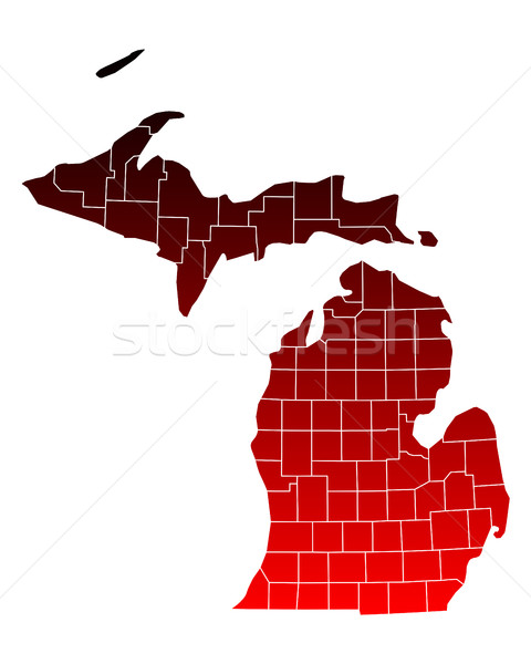 Carte Michigan Voyage rouge USA isolé Photo stock © rbiedermann