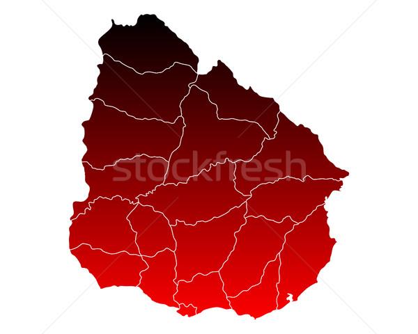 Térkép piros vektor izolált illusztráció földrajz Stock fotó © rbiedermann