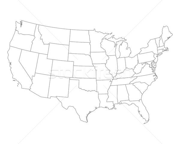 Stock fotó: Térkép · USA · háttér · fehér · vonal · vektor