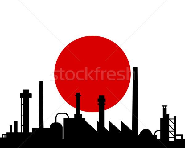 Industria bandiera Giappone costruzione panorama tecnologia Foto d'archivio © rbiedermann