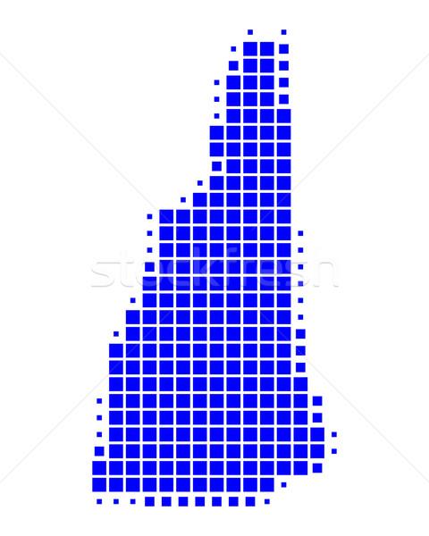 Kaart New Hampshire Blauw patroon amerika USA Stockfoto © rbiedermann