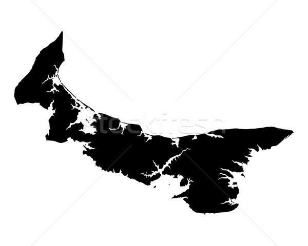 Mapa isla del príncipe eduardo negro isla vector aislado Foto stock © rbiedermann