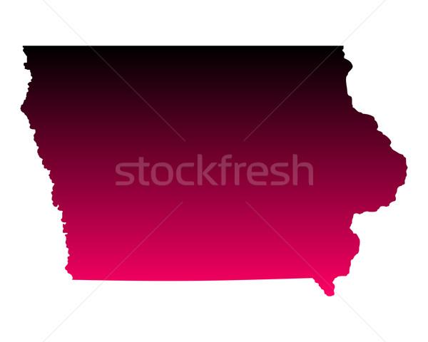 Térkép Iowa utazás rózsaszín Amerika lila Stock fotó © rbiedermann