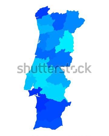 Harita Portekiz mavi vektör yalıtılmış örnek Stok fotoğraf © rbiedermann