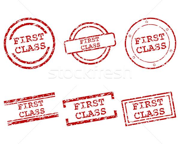 Stock fotó: Első · osztály · bélyegek · terv · levél · bélyeg · osztály