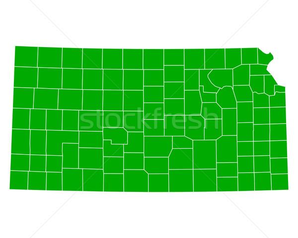 Harita Kansas arka plan yeşil hat ABD Stok fotoğraf © rbiedermann