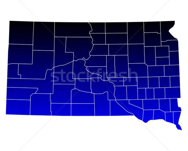 Térkép Dél-Dakota kék USA vektor izolált Stock fotó © rbiedermann