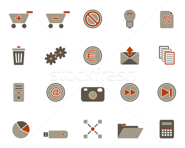 Web icons internet licht ontwerp winkelen communicatie Stockfoto © rbiedermann
