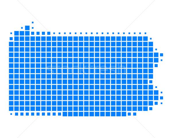 Mapa Pensilvania azul patrón América cuadrados Foto stock © rbiedermann