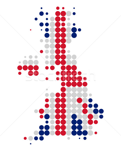 Stock photo: Map and flag of Great Britain