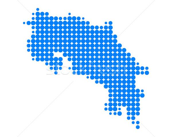 Térkép Costa Rica kék minta kör Stock fotó © rbiedermann